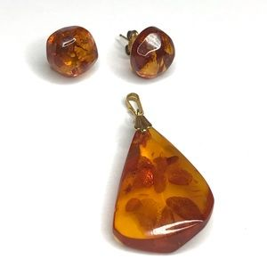 Amber Pendant Earrings Set Pierced Gold Filled